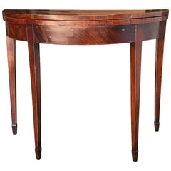 English Inlaid Flip-Top Demilune Card Table