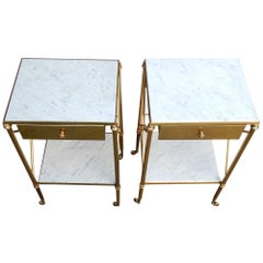 1970 Pair of Side Bed Has Castors in Brass Has a Drawer Style of Maison Bagués