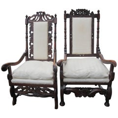 Two Swedish Jacobean Style Armchairs