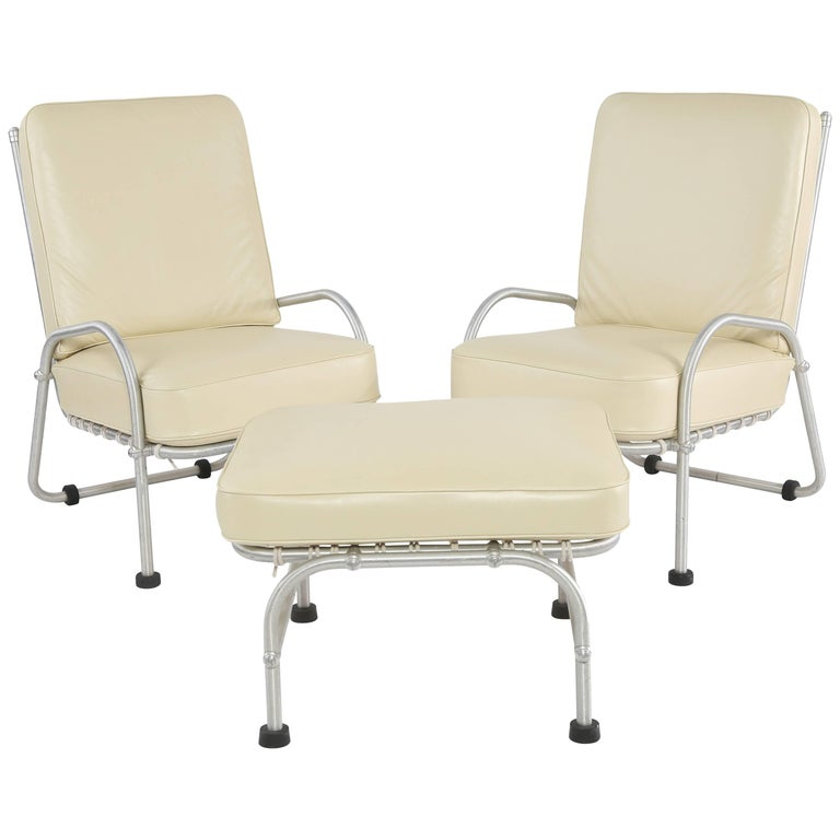 Rare Warren McArthur Lounge Chairs and Ottoman