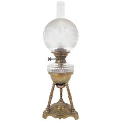 19th Century Rippingilles Patent Brass Oil Lamp