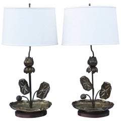 1950s Lotus Brass Table Lamps