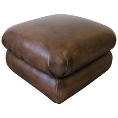 Modern Brown Leather Ottoman by George Smith, ca. 1990s