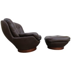 Wonderful Selig Swivel Egg Lounge Chair with Ottoman Mid-Century Modern