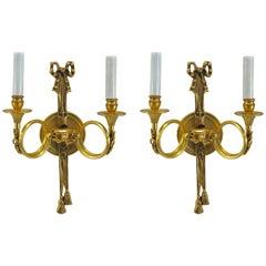 Pair of French Ormolu Louis XVI Style Sconces