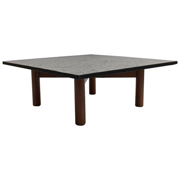 French Midcentury Slate and Oak Coffee Table