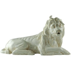 Mottahedeh White Glazed Majolica Recumbent Lion Figure after Kaendler