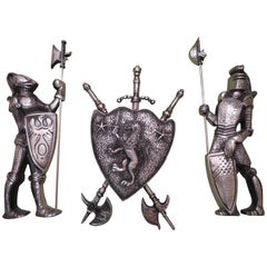 Vintage Cast Metal Lion Coat of Arms Knights Armor, Midcentury