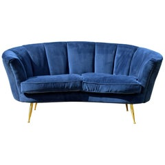 Italian Modern Style Loveseat with Brass Legs