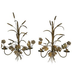 Midcentury Italian Gold Gilt Metal Sheaf-of-Wheat Sconces or Wall Art, Italy