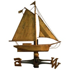 Unique Full Bodied Ship Weathervane with Great Gilt Surface