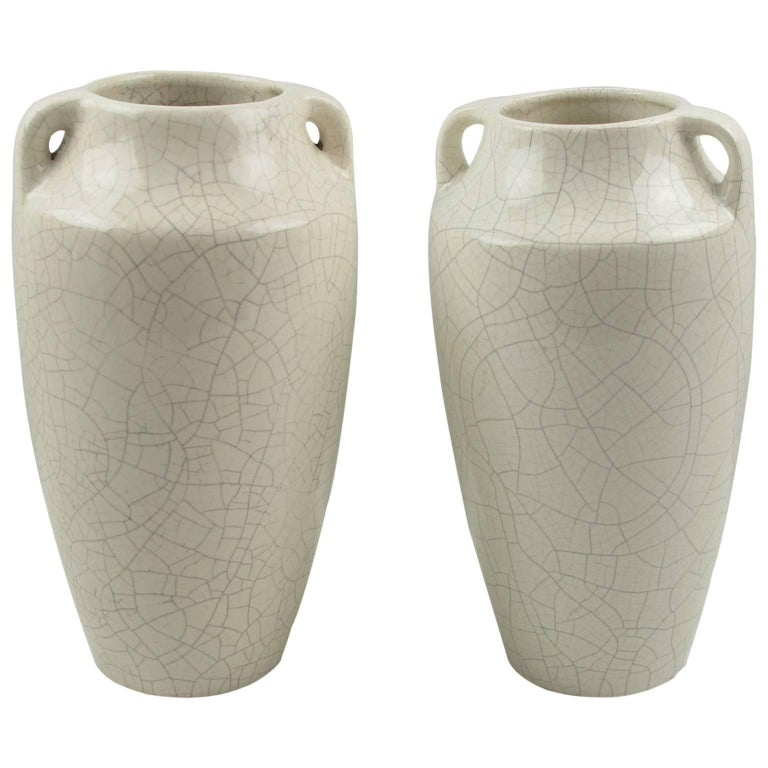 1930s Faiencerie Saint Clement Pair of Art Deco Crackle Glaze Ceramic Vase