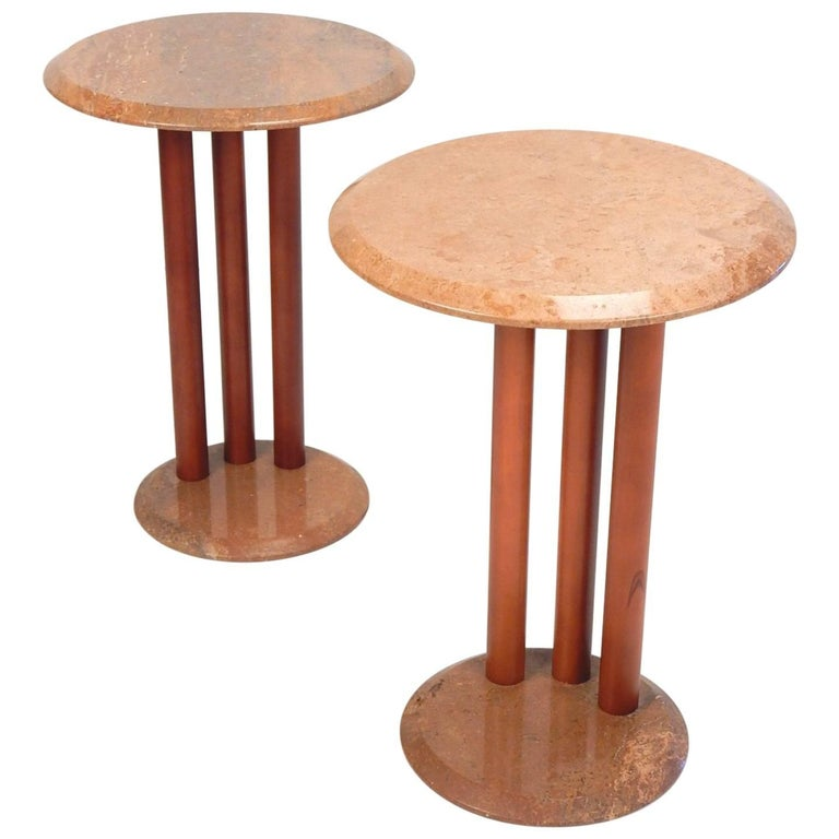Midcentury Danish Modern Teak and Marble Cantilever Side Tables