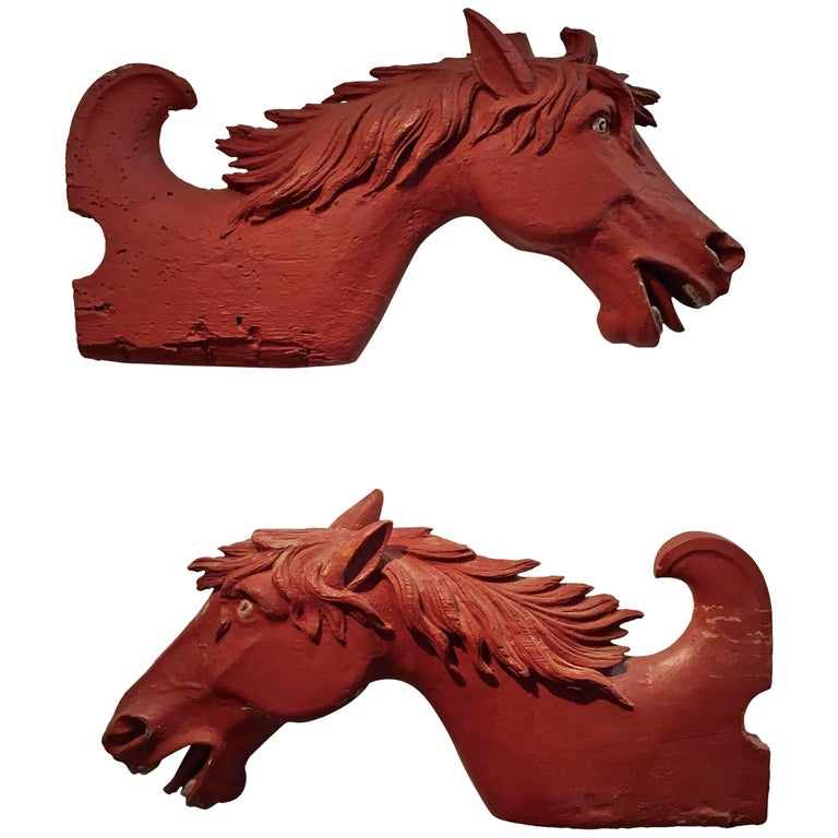 Pair of Carved and Painted Horse Heads from Carousel