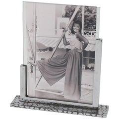 Art Deco Modernist Chrome Picture Photo Frame, France, circa 1930s