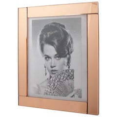 Large 1940s French Copper Pink Mirror Picture Photo Frame