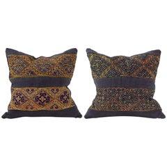 Vintage Embroidery Pillows, Indigo Green Red, Mustard