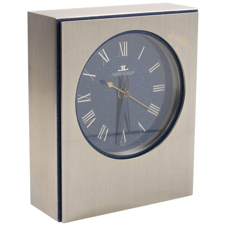 Jaeger LeCoultre Table Desk Clock Brushed Stainless Steel Faux Lapis Enamel Dial