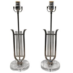 Pair of French Neoclassical Chrome Lyre Lamps with Lucite Bases