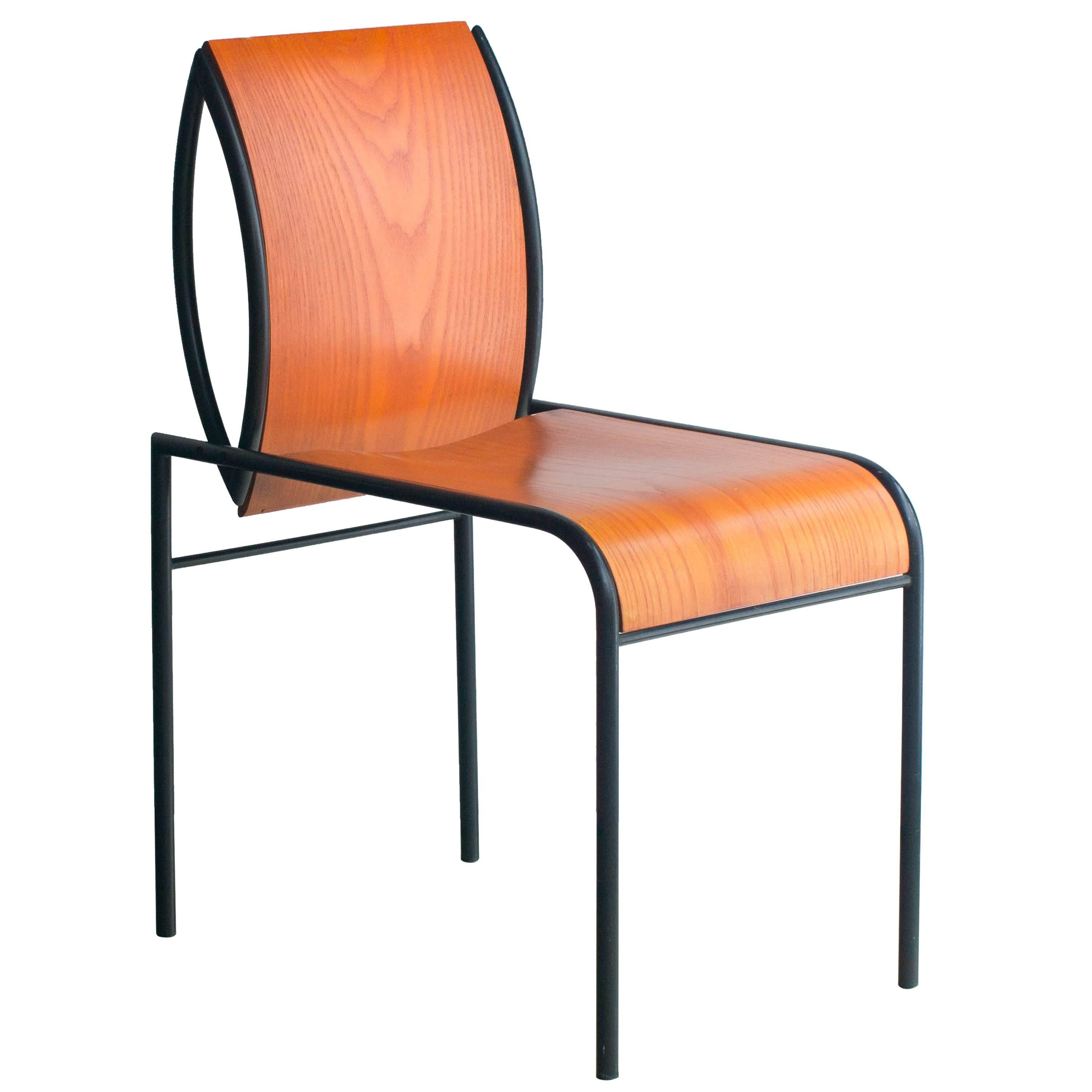 Kim Steel and Plywood Chair Michele De Lucchi for Memphis Original 1980s
