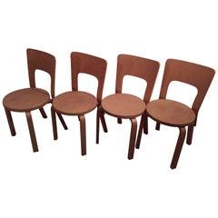 1960s-1970s Set of Four Alvar Aalto Model 66 Dinner Chairs for Artek Finland