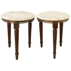 French Pair of Antique Wood & Marble-Top Side Tables-Signed