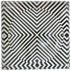 Lucite Optic Zebra Print Square Bowl by, AVF