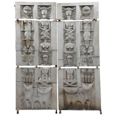 Ethnic Style Monumental Decorative Elements in Plaster, 20th Century