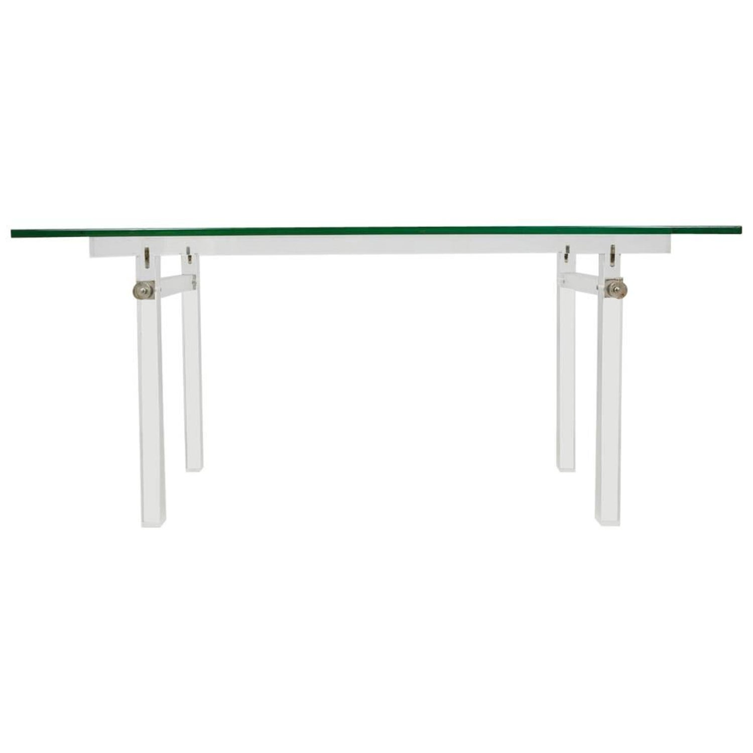 Vintage Lucite Glass Top Dining Table Console 1970s For Sale at