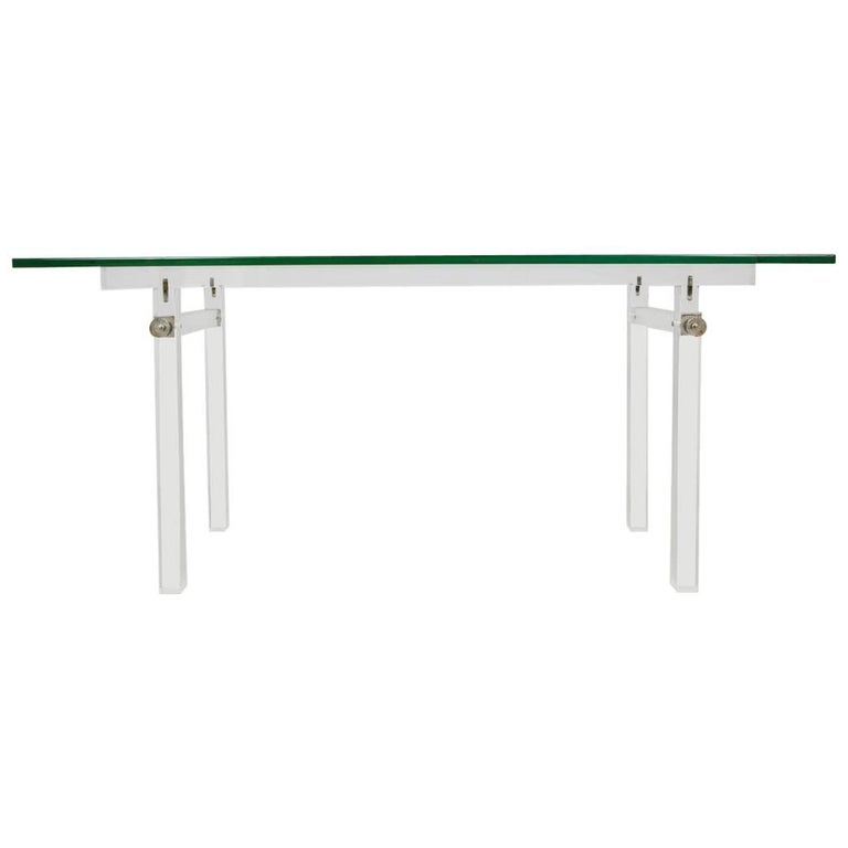 Vintage Lucite, Glass Top Dining Table, Console, 1970s