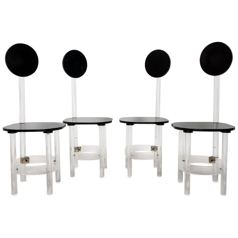 Set of Four Black and Clear Sculptural Lucite High Back Dining Room Chairs 1970s