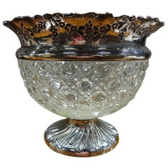 Beautiful Hobnail Cut-Glass and Silver Bowl, Chester, 1901