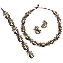 Trifari Gold Plate & Rhinestone Necklace, Bracelet and Earrings Alfred Phillipe