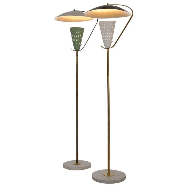 Pair of Italian Brass, Marble and Aluminum Floor Lamps, 1950s