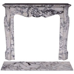 Antique Louis XV Style Fireplace, Pompadour Model, in Serravezza Breccia Marble