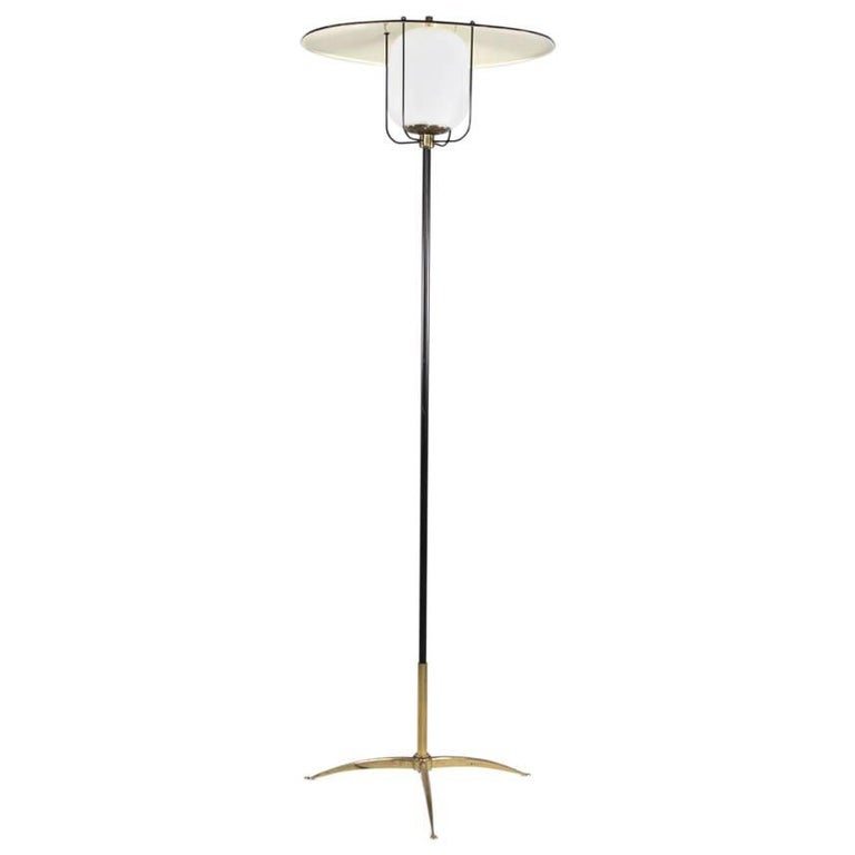 Italian Aluminium and Brass Floor Lamp, 1950s