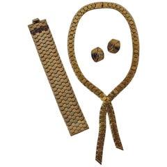 Trifari Vintage Honeycomb Necklace, Bracelet & Earrings, circa 1940s, American