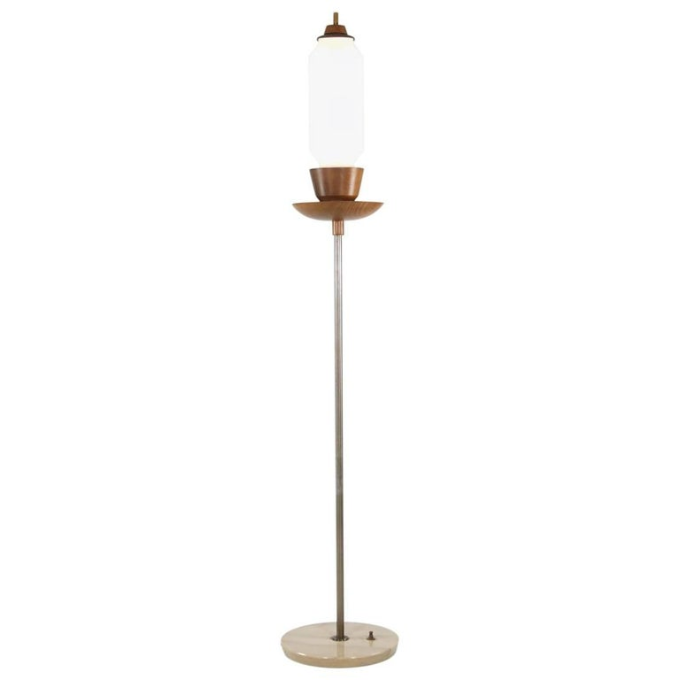 Vintage Italian Marble, Teak and Brass Floor Lamp, 1960s