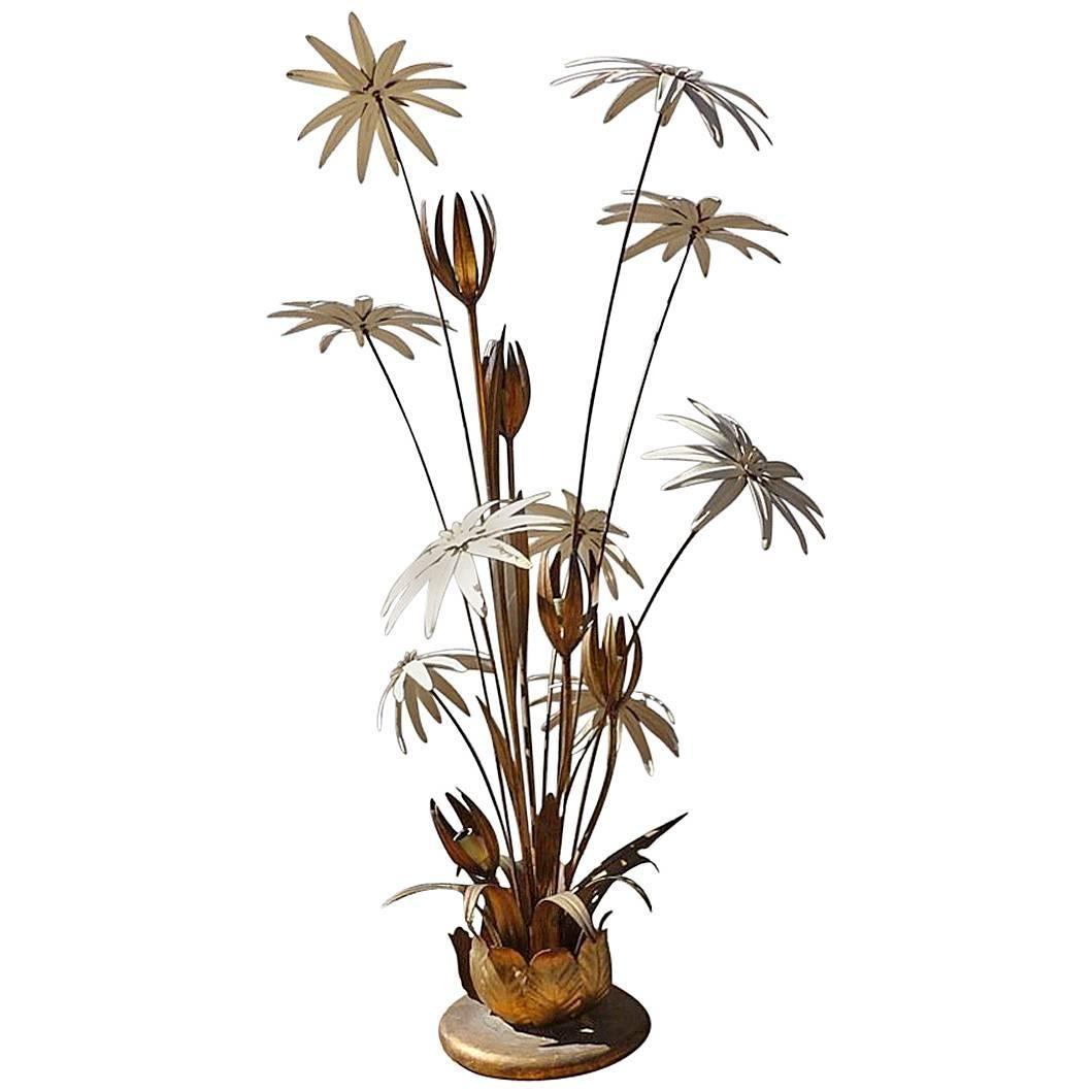 Maison Jansen Brass Flower Floor Lamp, Circa 1970 1