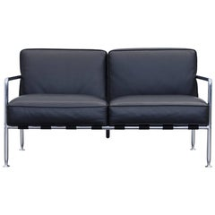 B&B Italia Freetime Designer Sofa Leather Black Two-Seat Chrome Couch Modern