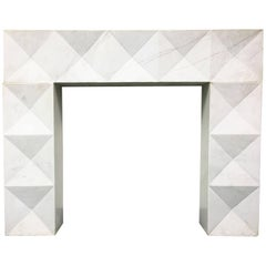 1960s Brutalist Style Mantel in Carrara Marble in Style of De Coene Frères