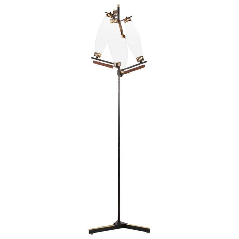 Italian Floor Lamp with Four Opaline Glass Lights, 1950s