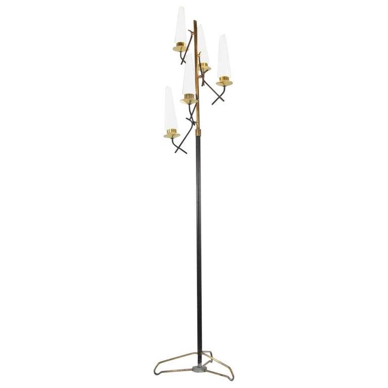Italian Floor Lamp with Five Opaline Glass Lights, 1950s