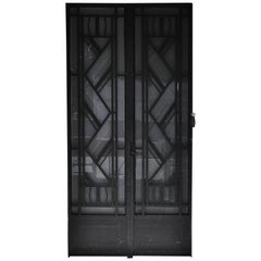Art Deco Exterior Door, 1930s, Iron and Engraved Glass with Flowers Decor