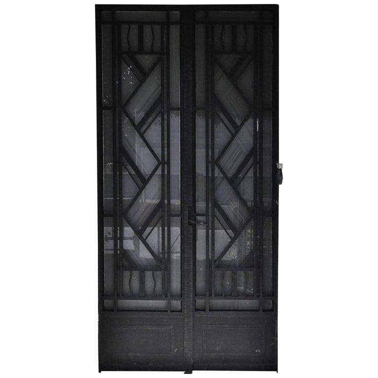 Art deco exterior door 1930s iron and engraved glass for 1930s front door furniture
