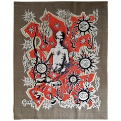 """""""Le Sagitaire"""" Zodiac Signs Themed Tapestry by Elie Grekoff, France, 1960s"""