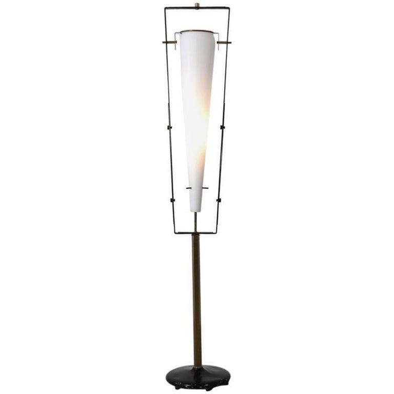 Italian Floor Lamp with Opaline Glass Light, 1950s