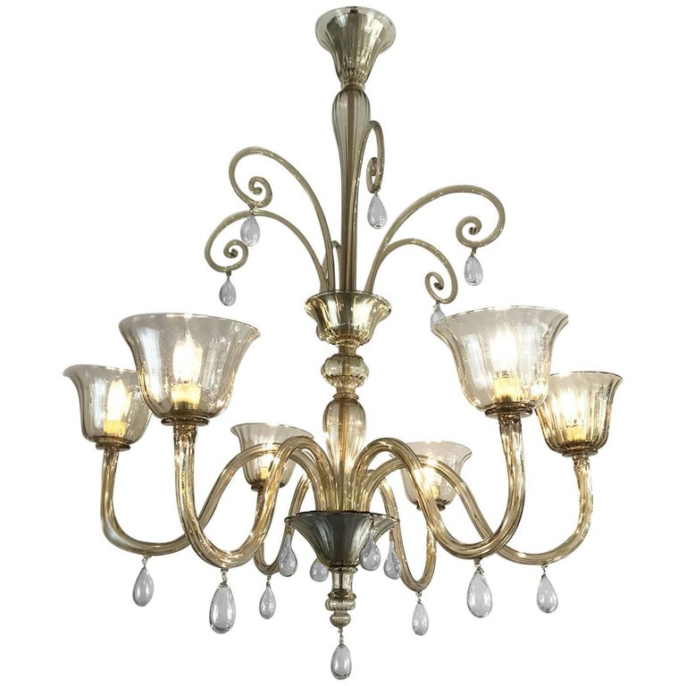 Art Deco Venini Style Venetian Murano Glass Six-Light Grey Chandelier circa 1920