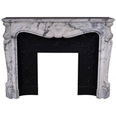 Antique Louis XV Style Fireplace in Arabescato Marble with Cast Iron Insert