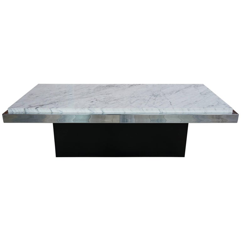 Vintage Coffee Table Marble White And Chrome For